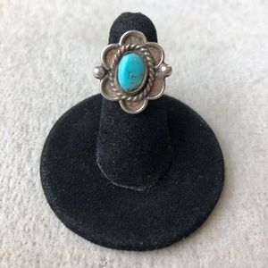 Vintage Turquoise & Sterling Silver Flower Ring